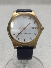 クォーツ腕時計/アナログ/レザー/WHT/NVY/MJ1609
