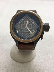 クォーツ腕時計/アナログ/レザー/GRY/17650