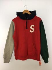 19ss/S logo colorblocked hooded sweatshirt/パーカー/S/コットン/RED
