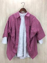 18SS/Tシャツコンビダブルヘム/半袖シャツ/36/コットン/RED/チェック/コンビ/レイヤード