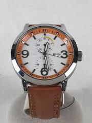 クォーツ腕時計/アナログ/レザー/WHT/ORN