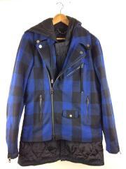ジャケット/48/ウール/BLU/チェック/JETHRONウールドッキング中綿ライダースコート