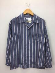マルチストライプオープンカラーシャツ/M/ポリエステル/ブルー/ストライプ/L18AW-181