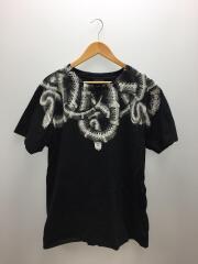 スネークプリントTシャツ/M/コットン/ブラック/プリント