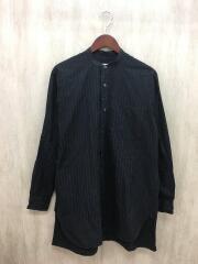 バンドカラーシャツ/1/コットン/BLK/ストライプ/J03-02002