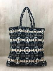 トートバッグ/コットン/BLK/総柄/plle tote bag L