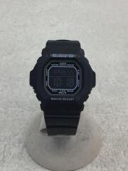 クォーツ腕時計/デジタル/ラバー/ブラック