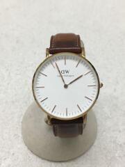 0501DW/クォーツ腕時計/アナログ/レザー/WHT