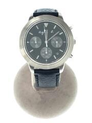 クォーツ腕時計/アナログ/レザー/ブラック/クロノグラフ