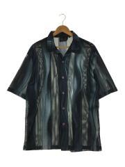 Merra/オープンカラーメッシュシャツ/L/ポリエステル/ブラック