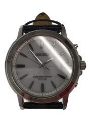 ソーラー腕時計/アナログ/レザー/ホワイト