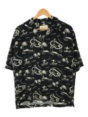 オープンカラー半袖アロハシャツ/1/レーヨン/ブラック