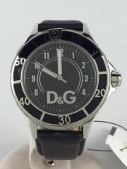クォーツ腕時計/アナログ/レザー/BLK/DW0580
