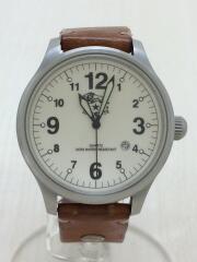 クォーツ腕時計/アナログ/レザー/WHT/BRW/日付表示/日常生活防水