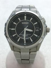クォーツ腕時計/アナログ/ステンレス/BLK/SLV/7b22-0bm0