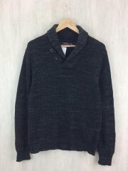 ショールカラーセーター(厚手)/ニット/S/ウール/ブラック/グレー/黒/無地/アメカジ