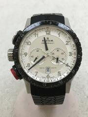 クォーツ腕時計/10305-3NR-AN/CHRONORALLY/デジアナ/ラバー/ホワイト/ブラック