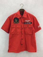 パッチドミリタリーシャツ/ファイヤー&アイス/半袖シャツ/6105100/M/コットン/オレンジ