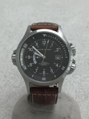 自動巻腕時計/アナログ/レザー/BLK/BRW