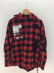 パッチワークチェックネルシャツ/長袖シャツ/2/コットン/RED/チェック/ue-167024