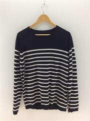 PANEL BORDER STAR ELBOW PATCH CREW NECK KNIT/L/セーター/ボーダー