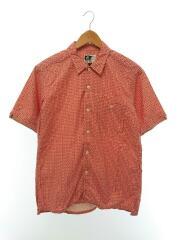 ポケット付き半袖シャツ/S/コットン/RED/総柄/USA製