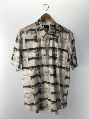 半袖シャツ/M/コットン/WHT/総柄/タグ劣化/首回り汚れ