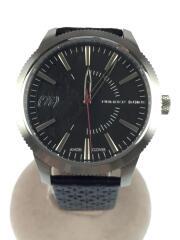 クォーツ腕時計/アナログ/レザー/ブラック
