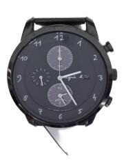ソーラー腕時計/アナログ/ステンレス/BLK/BLK