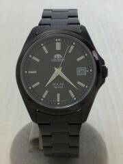 クォーツ腕時計/アナログ/ステンレス/BLK/BLK/黒/WE01-D0-B/タグ付き/
