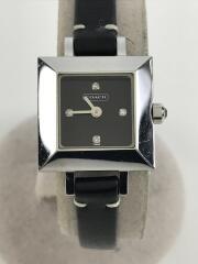 クォーツ腕時計/スクエア/アナログ/レザー/BLK/BLK