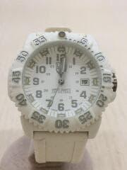 クォーツ腕時計/アナログ/ラバー/WHT/WHT/3050/3950