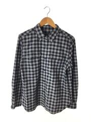 ネルシャツ/42/コットン/GRY/グレー/ネイビー/ギンガムCK/胸ポケット/