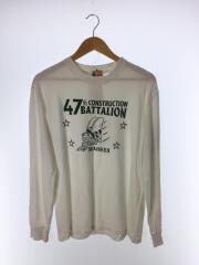 長袖Tシャツ/L/コットン/ホワイト/SEABEES/フロントプリント/蜂
