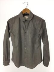 長袖シャツ/1/ウール/グレー/ストライプ/胸ポケット/丸襟