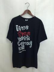 Tシャツ/L/コットン/ブラック/黒/Live free with Strong will/プリント