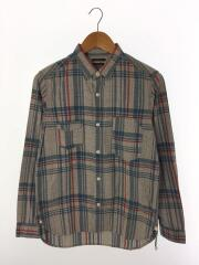 ネルシャツ/S/コットン/BLU/チェック/ワークシャツ/猫目ボタン/胸ポケ/ボタンダウン