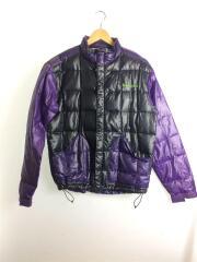 ダウンジャケット/M/ナイロン/ブラック/パープル/黒×紫/ロゴ刺繍/ジップ/マジックテーフ