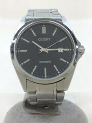 クォーツ腕時計/アナログ/ステンレス/BLK/SLV/SWIMMER