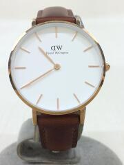 クォーツ腕時計/アナログ/レザー/WHT/BRW/DW00100175/替えベルト付