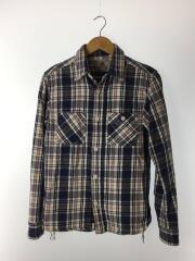 ネルシャツ/M/コットン100%/ネイビー/チェック/胸ポケット/ロゴパッチ