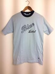 Tシャツ/M/コットン/BLU/ブルー/青/無地/半袖/ロゴ刺繍/丸首