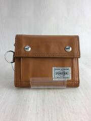 3つ折り財布/PVC/BRW/茶色/ブラウン/無地/スナップボタン