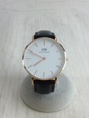 クォーツ腕時計/アナログ/レザー/WHT/BLK/DW36mm/0508DW/ベルト変色有