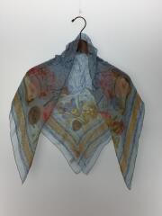 スカーフ/シルク/BLU/総柄/レディース/フルーツ/カタツムリ/栗/テントウ虫/シアー