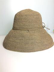 ストローハット/ブラウン/茶/Provence8/ラフィア/麦わら帽子/リボン/ワンポイント/