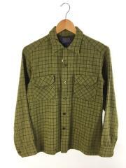 長袖シャツ/CPOシャツ/オープンカラー/バージンウール/M/ウール/GRN/チェック