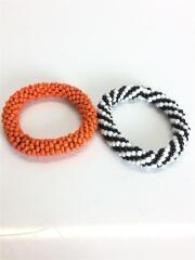 ブレスレット/ビーズ/マルチカラー/2連/オレンジ/ブラック/ホワイト