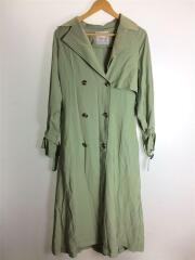 トレンチコート/FREE/レーヨン/グリーン/緑/袖絞り/2ポケット/ボタン/ウエスト絞り