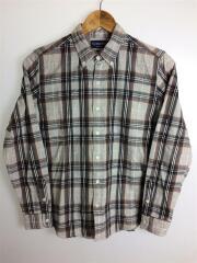 ネルシャツ/14/コットン/GRY/チェック/BDシャツ/ボタンダウンシャツ/ロゴ刺繍/16A-WS-006